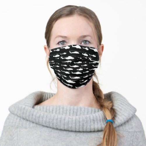 Black and White Helicopter Pattern Cloth Face Mask