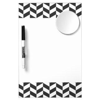 Black and White Herringbone Dry-Erase Whiteboard
