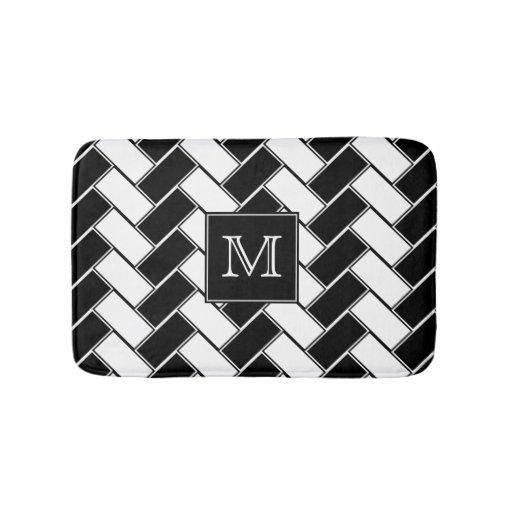 Black And White Herringbone Monogrammed Bathroom Mat Zazzle