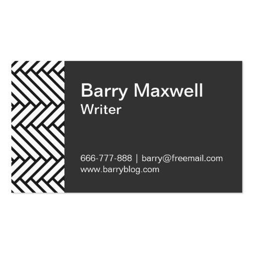black and white herringbone pattern business card