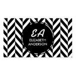 Black and White Herringbone Pattern Business Cards