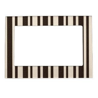 Black and White Herringbone Pattern Magnetic Frame