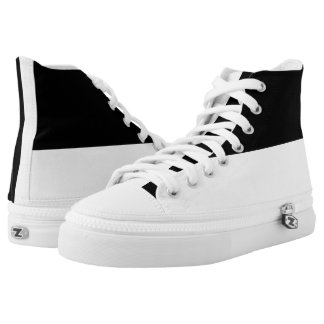 Black and White Hi-Top Sneaker Canvas Shoe Printed Shoes