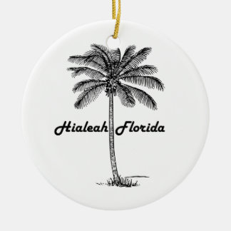 Black and White Hialeah & Palm design Ceramic Ornament