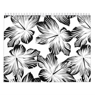 Black and white hibiscus calendar