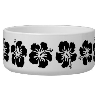 Black and White Hibiscus Flower Dog Bowl