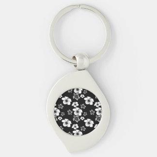 Black And White Hibiscus Honu Hawaiian Pattern Silver-Colored Swirl Metal Keychain