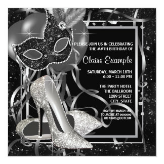 Black and White High Heels Birthday Party Custom Announcements