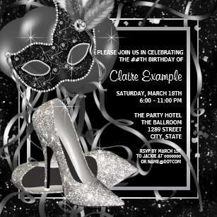 Black and white birthday invitations announcements zazzle black and white high heels birthday party invitation filmwisefo