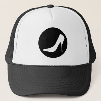 BLACK AND WHITE HIGH HEELS DESIGN TRUCKER HAT