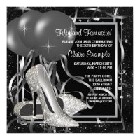 Black and white birthday invitations announcements zazzle black and white high heels womans birthday party filmwisefo Images