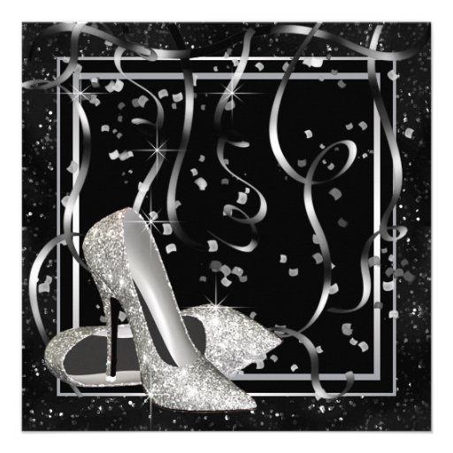 Black and White High Heels Womans Birthday Party Custom Invitations (back side)