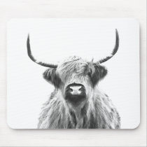 Black and White Highland Cow Portrait Mouse Pad