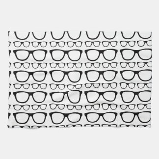 Black and White Hipster Retro Glasses Pattern Kitchen Towels