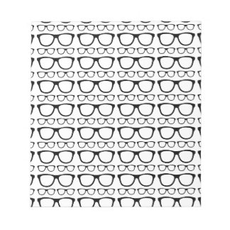 Black and White Hipster Retro Glasses Pattern Notepad