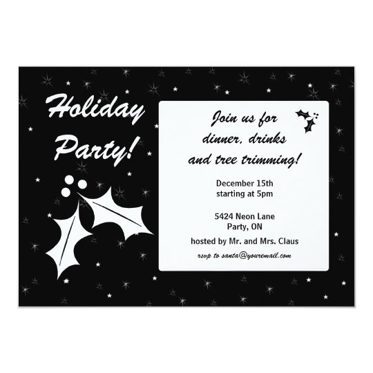 Black and White Holiday Party Card