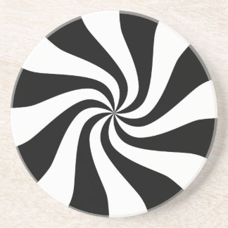 Black and White Holiday Peppermint Candy Coaster