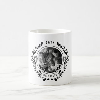 Black and White Holiday Wreath Photo Coffee Mug