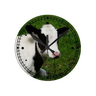 Black and White Holstein Cow in Grassy Pasture Round Wallclock