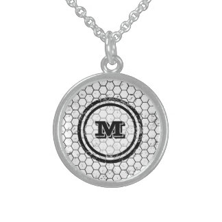 Black and white Honeycomb Monogram Geometric Sterling Silver Necklace