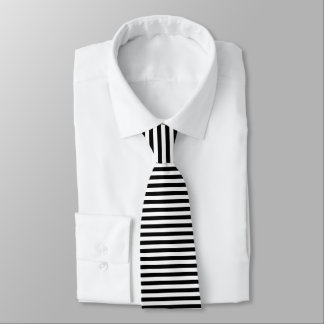 Black and white horizontal stripes pattern tie