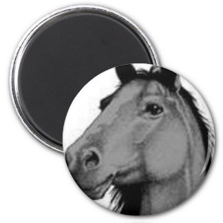 black and white horse 2 inch round magnet
