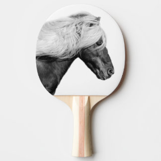 Black and white horse equestrian animal photo ping pong paddle