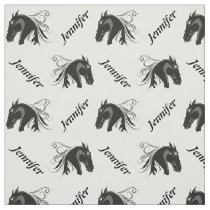 Black and white horse head and name personalized fabric