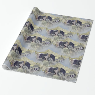 Black and White Horse Mare and Foal Wrapping Paper