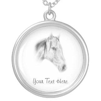 Black and White Horse Photo Round Pendant Necklace