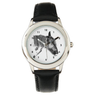 Black and white horse wristwatch