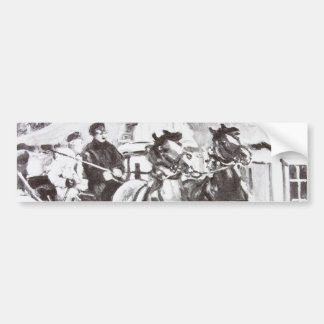 Black and White Horses and Carriage Car Bumper Sticker