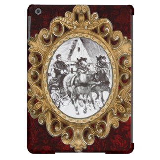 Black and White Horses and Carriage Case For iPad Air