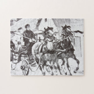 Black and White Horses and Carriage Jigsaw Puzzles