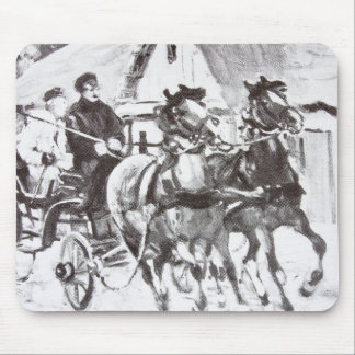 Black and White Horses and Carriage Mouse Pad