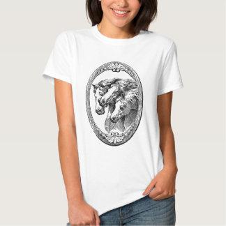 Black and White Horses Illustration T Shirt