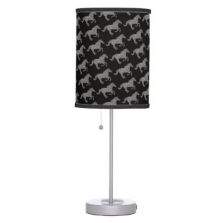 black and white horses running table lamp