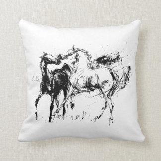 Black and White Horses Throw Pillow