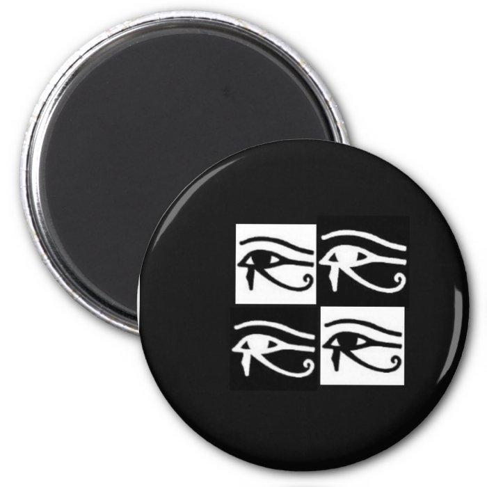 black and white Horus eyes 2 Inch Round Magnet