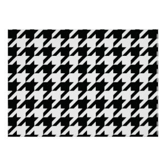 Black and White Houdstooth Pattern Poster