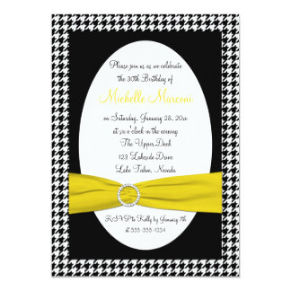 Black and White Houndstooth 30th Birthday Invite