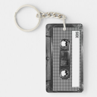 Black and White Houndstooth Cassette Keychain