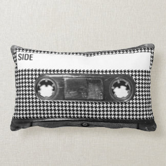 Black and White Houndstooth Cassette Throw Pillow