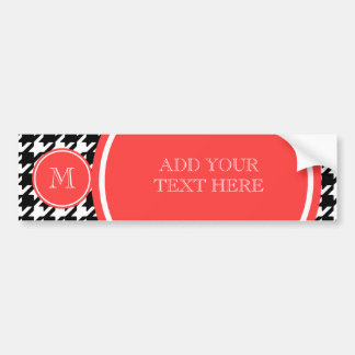 Black and White Houndstooth Coral Monogram Bumper Sticker