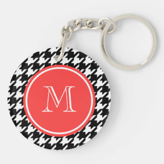 Black and White Houndstooth Coral Monogram Keychain