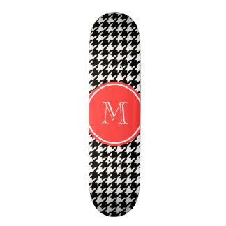 Black and White Houndstooth Coral Monogram Skateboard Deck