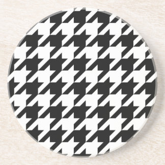 Black and White Houndstooth Drink Coaster