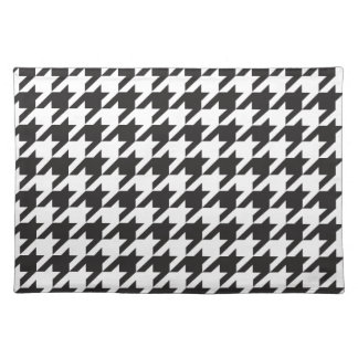 Black and White Houndstooth Fun Pattern Cloth Placemat