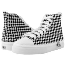 Black and White Houndstooth High-Top Sneakers