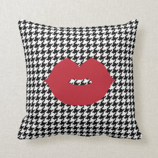 Black And White Houndstooth Kiss Throw Pillow
